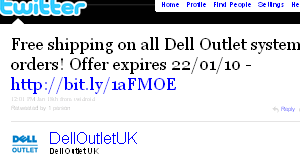 Image - tweet by @DellOutletUK - Free shipping on all Dell Outlet system orders! Offer expires 22/01/10 - http://bit.ly/1aFMOE 