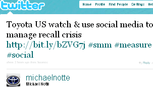 Image - Michael Notté - Toyota -Toyota US watch & use social media to manage recall crisis http://bit.ly/bZVG7j #smm #measure #social