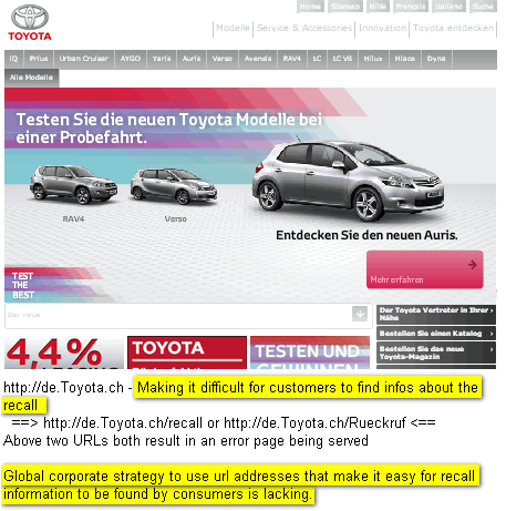 Image - Toyota lacks a global corporate strategy for using social media and URLs effectively to help its clients to find the recall information needed to see if their car needs fixing or not