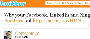 Image - graphic - tweet - @ComMetrics - Why your Facebook, LinkedIn and Xing #metrics fail http://su.pr/2nvHUN