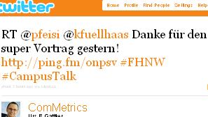 Image - tweet by @ComMetrics - RT @pfeisi @kfuellhaas Danke für den super Vortrag gestern! http://ping.fm/onpsv #FHNW #CampusTalk