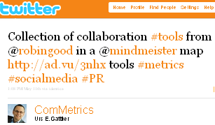 Image - tweet by @ComMetrics - Collection of collaboration #tools from @robingood in a @mindmeister map http://ad.vu/3nhx tools #metrics #socialmedia #PR