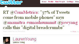 Image - tweet by @LaurenYoung RT @ComMetrics '37% of Tweets come from mobile phones