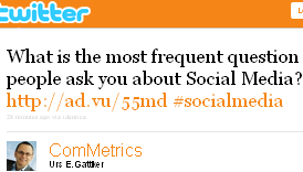 Image - tweet by @ComMetrics - What is the most frequent question people ask you about Social Media? http://ad.vu/55md #socialmedia