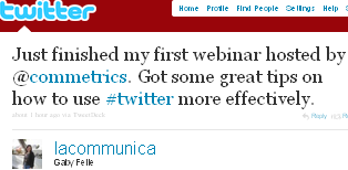 Image - tweet by @kommboutique Just finished my first webinar hosted by @commetrics. Got some great tips on how to use #twitter more effectively