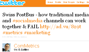 Image - tweet by @ComMetrics Swiss PostBus - how traditional media and #socialmedia channels can work together & FAIL http://ad.vu/8z9t #metrics #marketing