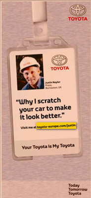 Image - advertising by Toyota - front page lower right - Financial Times Europe, UK and Middle East edition - followed by 1/3-page ad on page 3 of same issue