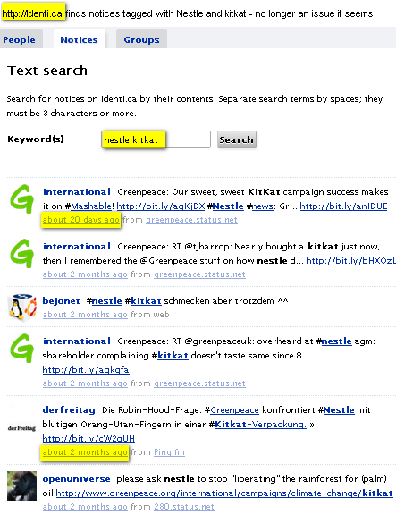 Image - searching on Identi.ca for Nestle and KitKat  by @ComMetrics - few results but definitely more than Twitter brings up