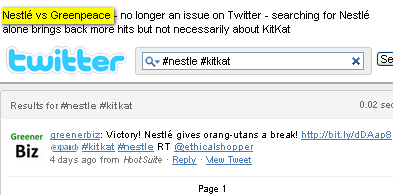 Image -  search Twitter using # hashtag and #Nestle #KitKat to get these results by @ComMetrics  - few results on Twitter
