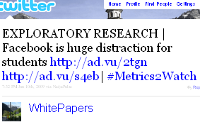 Image - tweet by @WhitePapers EXPLORATORY RESEARCH | Facebook is huge distraction for students http://ad.vu/2tgn http://ad.vu/s4eb| #Metrics2Watch