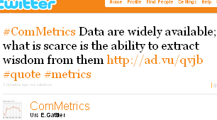 Image - tweet by @Commetrics - #ComMetrics Data are widely available; what is scarce is the ability to extract wisdom from them http://ad.vu/qvjb #quote #metrics