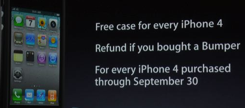 Image - What Steve Jobs and team said during the press conference- get free bumper to fix the reception problem