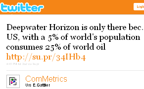 Image - tweet by @Commetrics - Deepwater Horizon is only there bec. US, with a 5% of world's population consumes 25% of world oil http://su.pr/34IHb4 #quote #metrics
