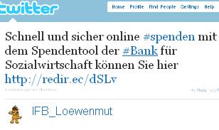 Image - tweet - @IFB_Loewenmut - Schnell und sicher online #spenden mit dem Spendentool der #Bank für Sozialwirtschaft können Sie hier http://redir.ec/dSLv