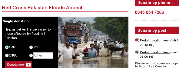 Image - webpage - British Red Cross - Pakistan floods appeal - round 14 million people have been affected and around 900,000 homes have been damaged or destroyed.