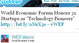 Image - tweet - WEFdavos - World Economic Forum Honors 31 Startups as 'Technology Pioneers'