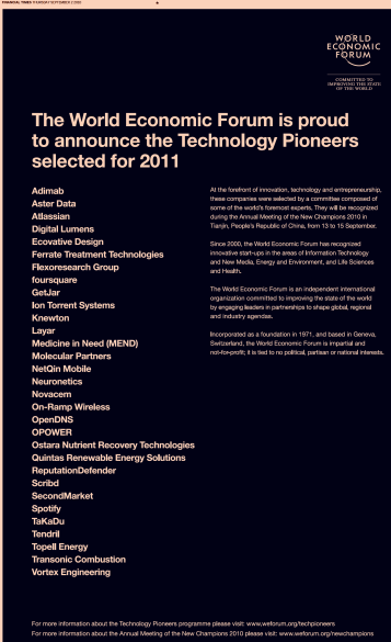 Image - print ad - World Economic Forum - announcing the Technology Pioneers 2011