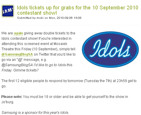 Image - blog post - Samsung Blog ZA - Idols tickets up for grabs for the 10 September 2010 contestant show! Submitted by mobi on Mon, 2010-09-06 14:08 ComMetrics