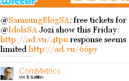 Image - tweet - @ComMetrics - @SamsungBlogSA: free tickets for @IdolsSA Jozi show this Friday http://ad.vu/4tpu response seems limited http://ad.vu/66py