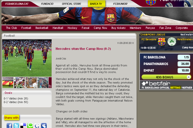 Image - Website FC Barcelona - Hercules stun the Camp Nou (0-2)