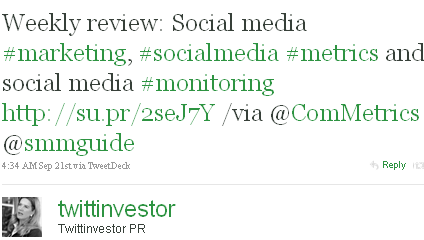 Image - tweet by @twittinvestor - Weekly review: Social media #marketing, #socialmedia #metrics and social media #monitoring http://su.pr/2seJ7Y /via @ComMetrics @smmguide