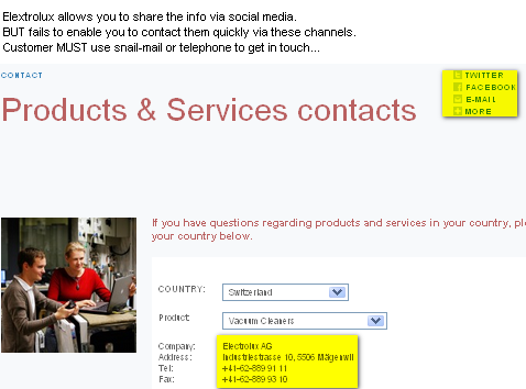 Image - Electrolux - Customer contact Switzerland - Allowing me to share the info via Twitter, Facebook and email is great - but not giving me a chance to contact them via email, Twitter, or Facebook is not that good - instead I either must call or use snail-mail - WHY