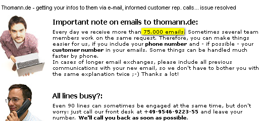 Image - Thomann.de - Customer service - call or email with your customer number - describe your problem - they will call you back to save you and themselves time... but the issue is resolved within 3 minutes - guaranteed