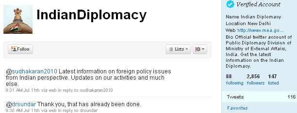 Image - 1st tweet - @IndianDiplomacy - After the police and the post office, the Indian Ministry of External Affairs began tweeting on 2010-07-08. Is it worth the trouble to follow them?