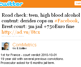 Image - tweet by @ComMetrics stating  - 1st for France - court verdict 2010-10-01 of a 19 year old with several previous convictions. Road check: teen, high blood alcohol content: derides cops on #Facebook, Brest court: 3m jail +750Euro fine http://ad.vu/8tcx Prosecutor asked for 6 months jail term.