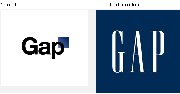 Image - Just four days after confirming its surprise new logo was, in fact, legit, the GAP is returning to its old design.