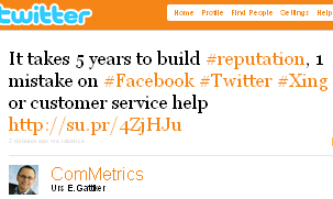 Image - 2010-10-25 tweet by @ComMetrics - It takes 5 years to build #reputation, 1 mistake on #Facebook #Twitter #Xing or customer service help http://su.pr/4ZjHJu.