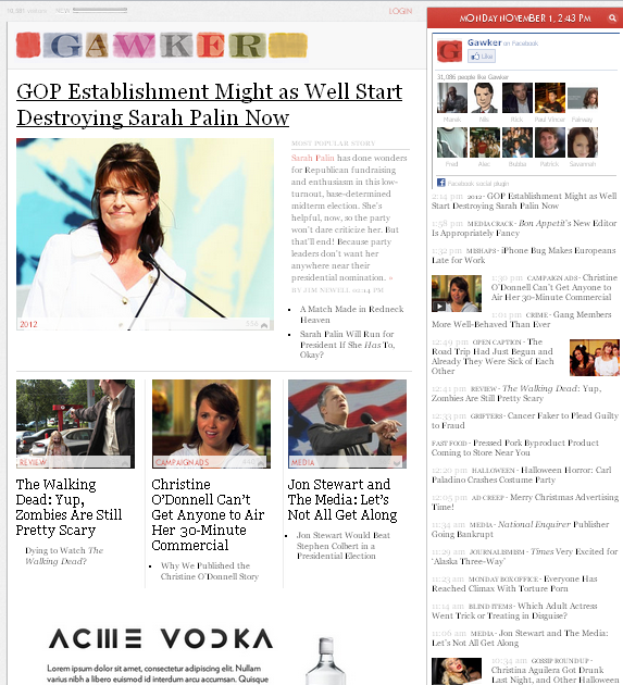 Image - Gawker media - beta design - The landing page is dominated by a large image, headline and single story with a list of other headlines along the right side. A new way to use blogs but not the end of the blog.