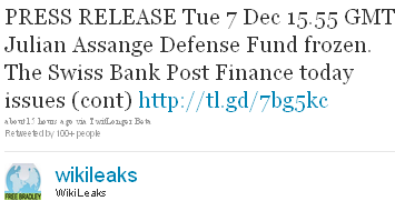 Image - tweet - @WikiLeaks - PRESS RELEASE Tue 7 Dec 15.55 GMT Julian Assange Defense Fund frozen. The Swiss Bank Post Finance today issues (cont) http://tl.gd/7bg5kc 