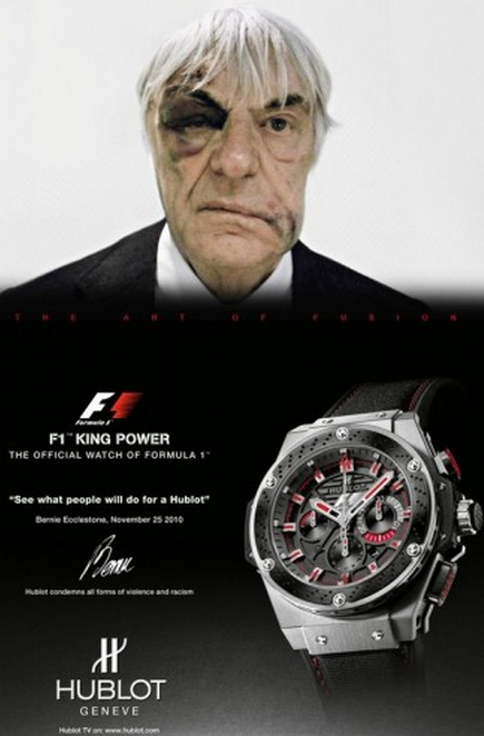 Image - Would you want to wear a luxury good that poses a risk to your health and well-being? Formula One Group CEO Bernie Ecclestone still seems to like his Hublot watch