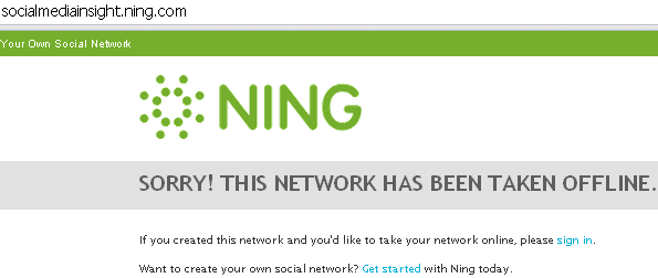Image - Ning - social media networking site gone offline - all content lost because nobody archived it before it closed down.