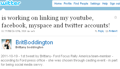 Image - FIRST tweet from @BrittBoddington - is working on linking my youtube, facebook, myspace and twitter accounts!