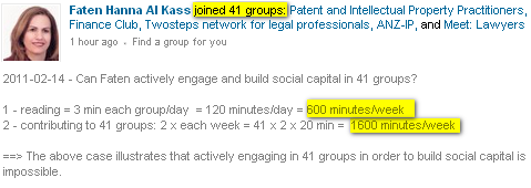 This case illustrates the practical impossibility of building social capital effectively by joining 41 groups... besides, what about your job?