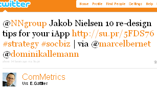 Image - @ComMetrics tweet - 2011-03-29 - @NNgroup Jakob Nielsen 10 re-design tips for your iApp http://su.pr/5FDS76 #strategy #socbiz | via @marcelbernet @dominikallemann