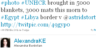 Image - tweet @AlexandraKE - #photo #UNHCR brought in 5000 blankets, 3000 mats this morn to #Egypt #Libya border v @astridstort http://twitpic.com/49gyp0