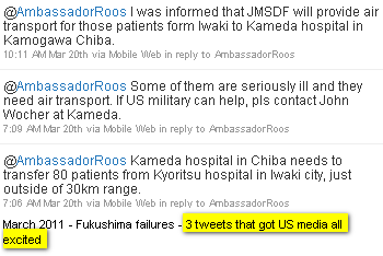 Image - tweet @Rikeishikou - 3 tweets sent to @AmbassadorRoos about the Kameda hospital in Chiba needing help to transfer 80 patients from Kyoritsu hospital in Iwaki city, just outside of 30km range.