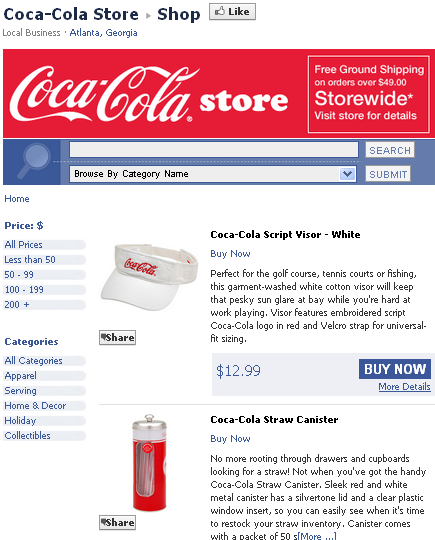 Image - Coca Cola store - 1 of the top 3 brands on Facebook, but the transaction itself is concluded on Coca-Cola's website.