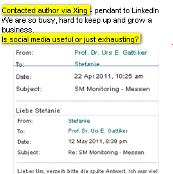 Image - direct contact message on Xing - Engagement via social media takes time - who has any?