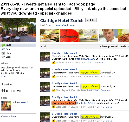 Image - Claridge Hotel - Facebook page lists tweets.