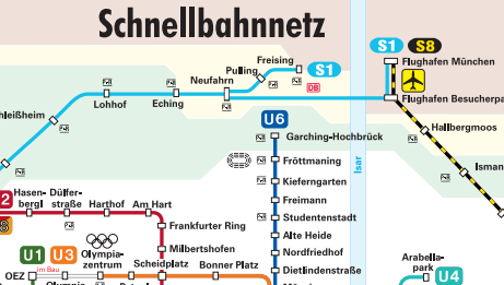 Image - infographic - Das Schnellbahnnetz im MVV - Munich public transport - much information presented in such a way that makes it easy to find your way around.