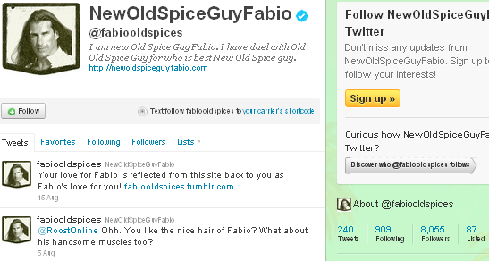 Image - Fabio - new Old Spice guy - Twitter account - flash in the pan.