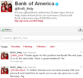 Image - Bank of America - Twitter account.