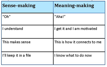 Table - Sense-making and meaning-making