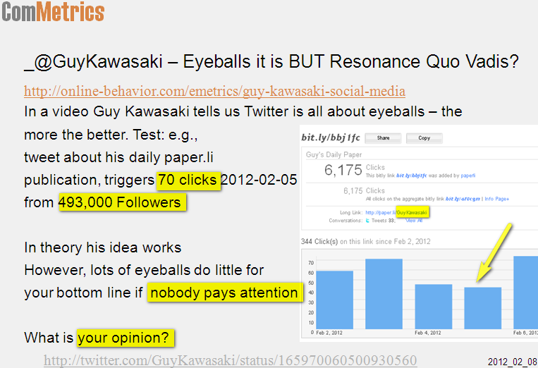 click on image - Twitter resonance versus eyeballs - the winner is not Guy Kawasaki but...