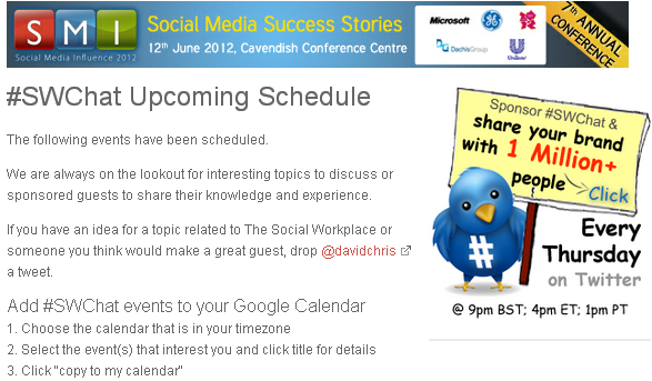 Click on image - Social Media Influence 2012 Conference - Twitter Chat