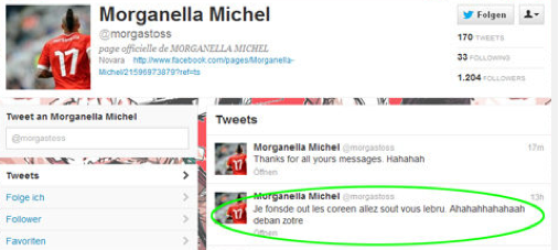 Click on image - Michel Morganella - expelled from Swiss Olympic team after racist tweet.